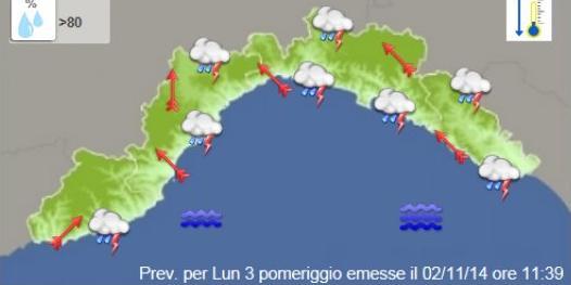 Maltempo in Liguria – Nuovo Allerta Meteo dalle 12 di oggi