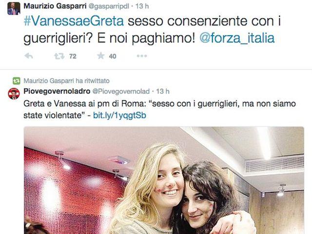 Greta e Vanessa – Gasparri su Twitter: sesso consenziente con guerriglieri?