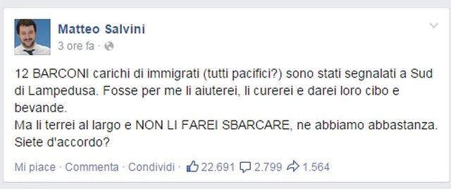 Immigrazione – Salvini: lasciare al largo i barconi
