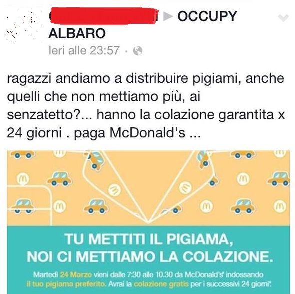"""Occupy Albaro """"offre"""" la colazione ai clochard di Genova"""