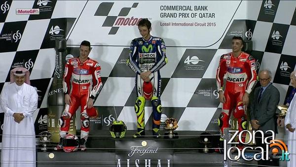 MotoGP – Qatar 2015: Valentino Rossi 1° su podio tutto italiano con Dovizioso e Iannone