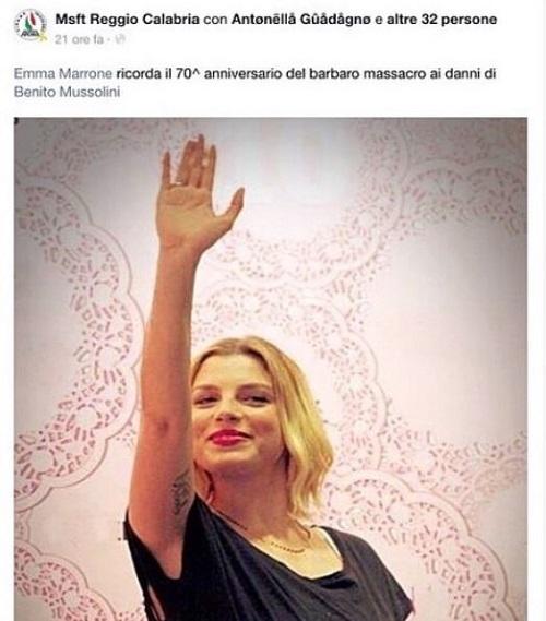 "Gossip – Emma ""sponsor"" MS per saluto fascista: ""Provo schifo"""