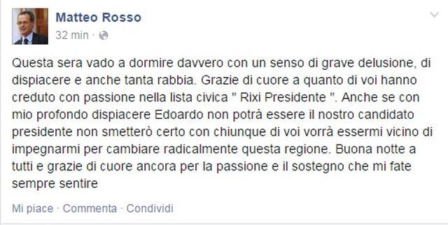 Elezioni Liguria – Matteo Rosso deluso per la scelta di Rixi