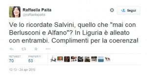 Raffaella Paita contro Salvini su Twitter