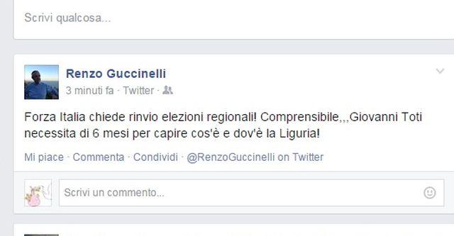Elezioni Liguria 2015 – Anche Renzo Guccinelli ironizza su Toti