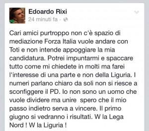 Edoardo Rixi sosterrà Giovanni Toti