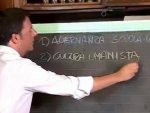 Matteo Renzi sbaglia alla lavagna della Scuola