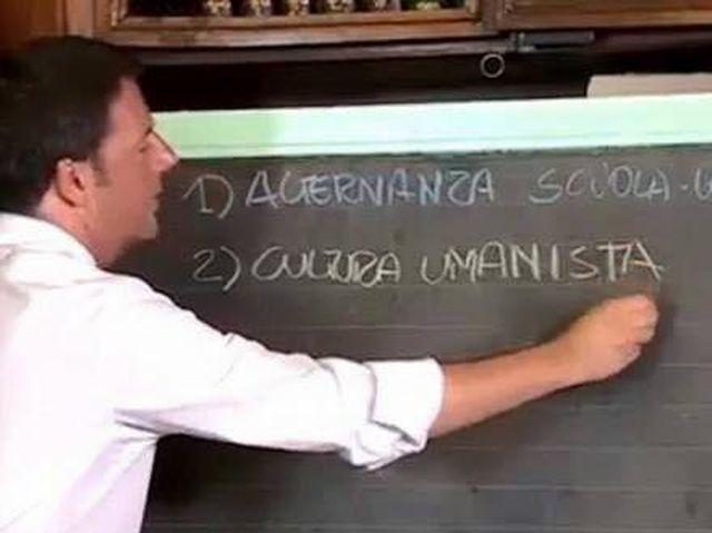 Matteo Renzi alla lavagna per la Scuola ma confonde Umanista con Umanistica