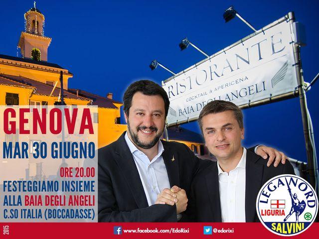 Matteo Salvini a Genova per festeggiare la vittoria alle regionali