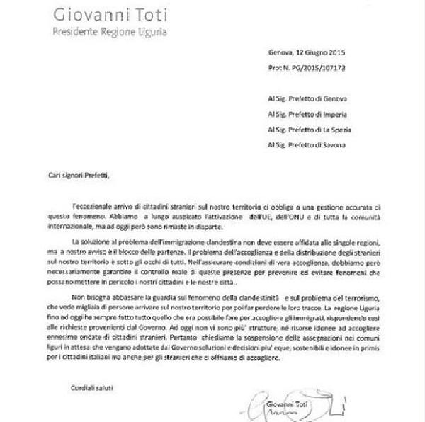 """Immigrazione – Toti scrive ai Prefetti: """"Ora basta migranti in Liguria"""""""