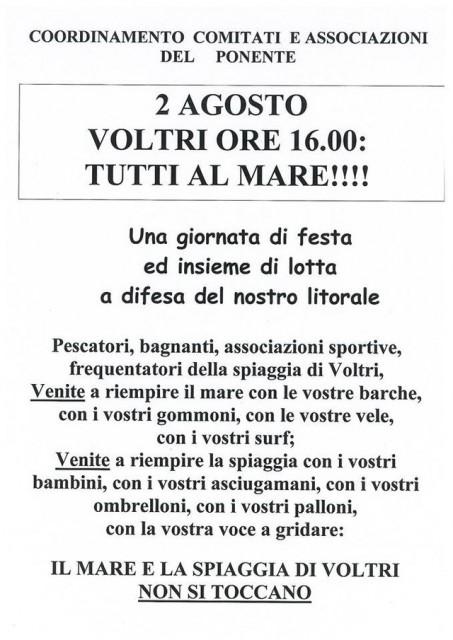 Voltri dice no all'ipotesi allungamento VTE con una manifestazione al mare