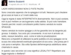 Sabina Guzzanti contro gli stabilimenti balneari