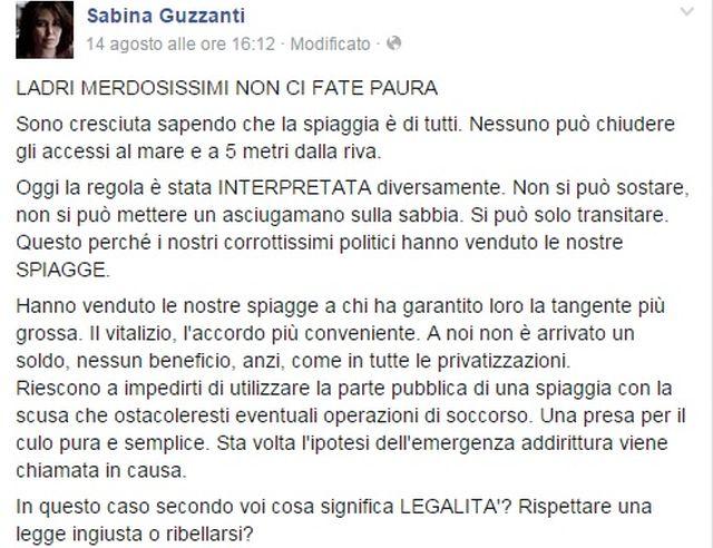 Sabina Guzzanti cacciata da stabilimento balneare ad Albissola Marina