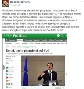 Saviano risponde a Renzi: nessun piagnisteo