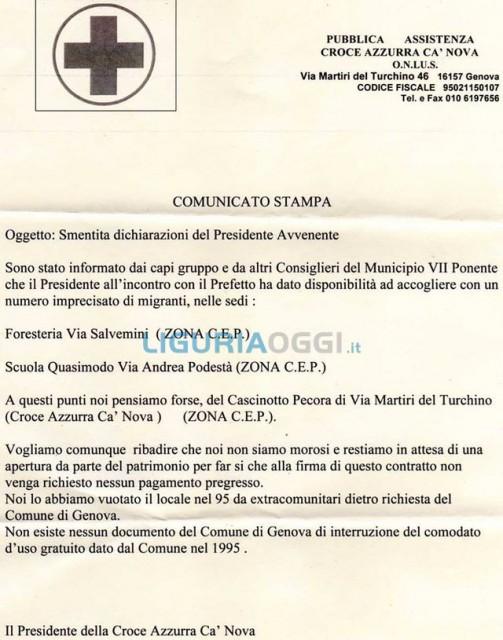 Voltri – Prà, Croce Azzurra Cà Nova smentisce il presidente Avvenente