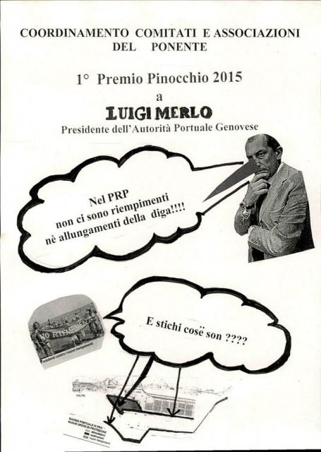 Voltri – Comitati in manifestazione per il premio Pinocchio a Luigi Merlo