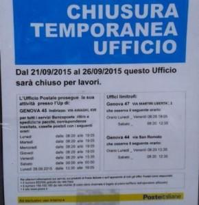 Ufficio postale di piazza Gaggero chiuso