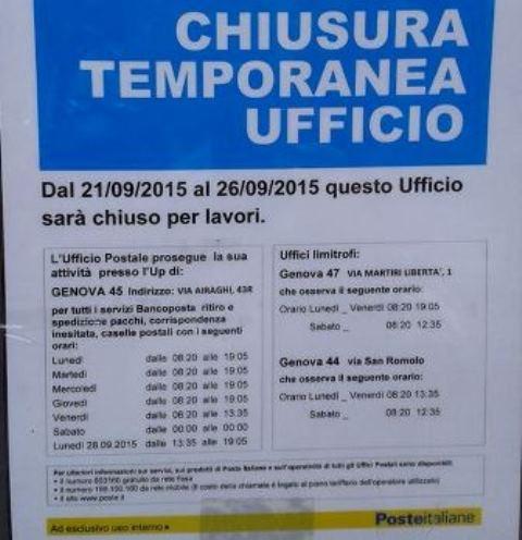 Voltri – Proteste per l'Ufficio Postale chiuso per lavori