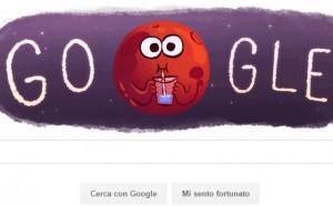 Google doogle per la scoperta di acqua su Marte