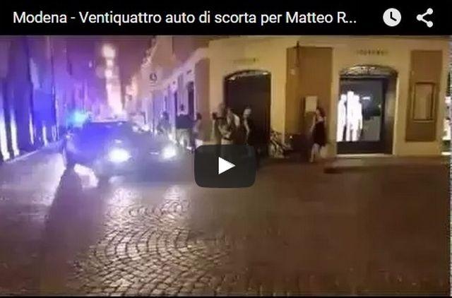 Modena – Polemiche per il corteo di auto di scorta per Matteo Renzi VIDEO