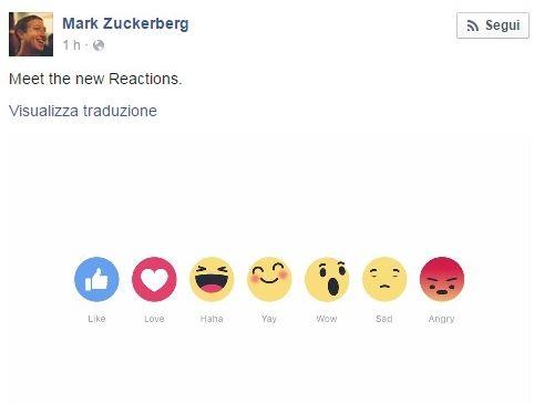 Facebook, dopo Like arrivano anche Love, Haha, Yay, Wow, Sad e Angry