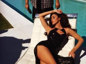 Belen Rodriguez durante lo shooting per Guess