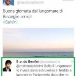 Matteo Salvini posta su Twitter dalla Puglia e Benifei gli risponde da Bruxelles