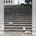 Roma, vandali distruggono la scalinata del Palazzo della civiltà italiana all'Eur