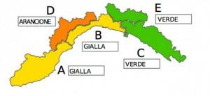 Liguria, il dettaglio dell'allerta