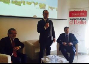 Il Presidente della Regione Toti, insieme a Roberto Maroni, alla presentazione dell'evento