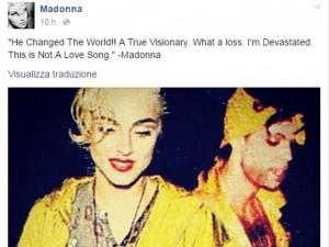 post di Madonna su morte di Prince