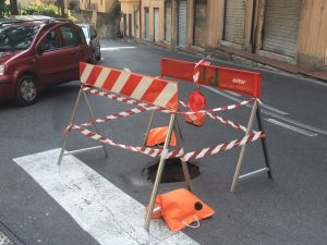 Voragine in via Robino a Marassi