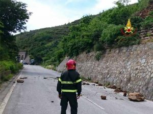 L'intervento dei Vigili del Fuoco lungo la strada provinciale