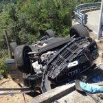 Framura – Incidente stradale con auto ribaltata