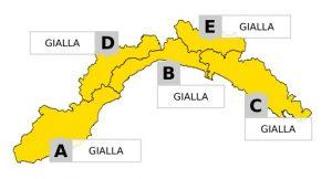 Liguria, allerta gialla su tutta la regione