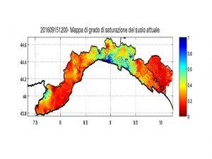 Nella foto, il grado di saturazione del territorio ligure dopo le ultime piogge