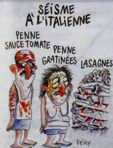 Terremoto - Il Comune di Amatrice fa causa a Charlie Hebdo