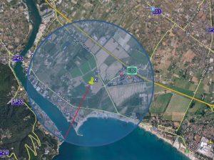 Nella foto, l'area delimitata da Asl e Arpal