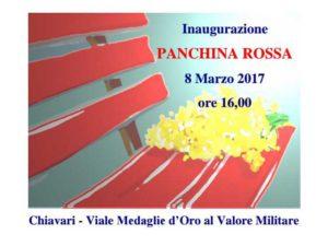 Inaugurerà a Chiavari il prossimo 8 marzo la Panchina Rossa