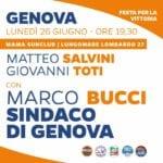 Genova, Bucci il nuovo sindaco: questa sera Salvini e Toti in Corso Italia per festeggiare