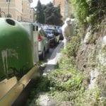 Genova – Marciapiedi invasi dalle erbacce in via Napoli
