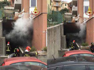 Savona - Incendio su un tetto a Massimino, in azione i Vigili del Fuoco