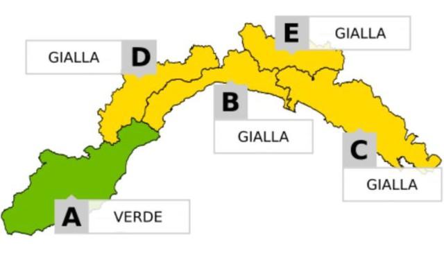 Allerta meteo Liguria, alle 21 scatterà il livello arancione. Solo nel savonese resterà gialla