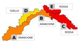 Allerta meteo in Liguria, arancione e rossa su tutto l'arco costiero sino alle ore 12 di martedì