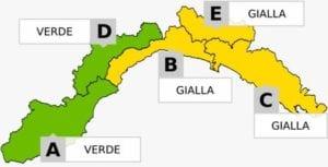 Maltempo in Liguria - Allerta meteo gialla da Spotorno alla Spezia