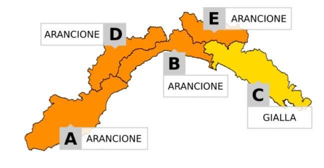 Allerta arancione sino alle 16 in gran parte della Liguria