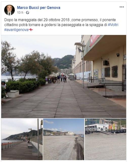 Voltri - Polemiche sui lavori sulla passeggiata a mare, i cittadini filmano e riprendono la situazione reale