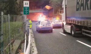 incendio autostrada A10 tra Varazze e Arenzano