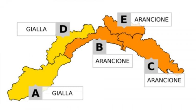 allerta maltempo in Liguria arancione e gialla